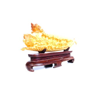 Chinese Antique Lettuce Sculpture on Stand C.1920s