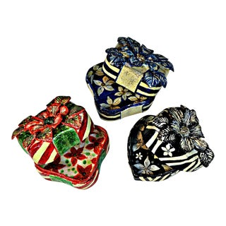 Vintage Papier Mache Trinket Boxes - Set of 3