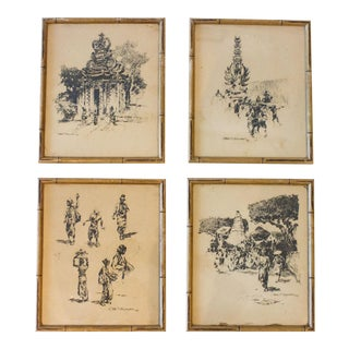 1937 Ink Sketches of Cambodia - Set of 4