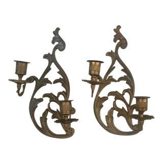 Cast Brass Candleholder Wall Scones - A Pair