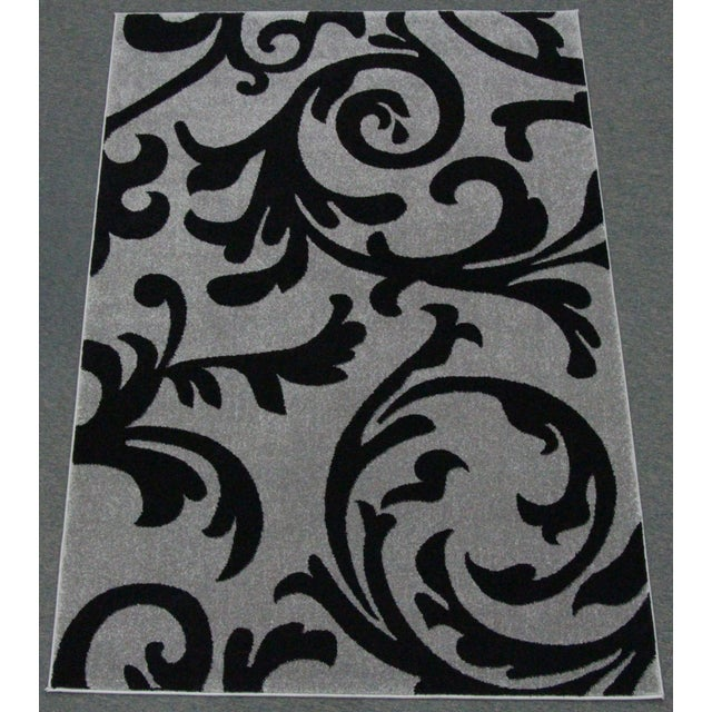 "Transitional Floral Gray & Black Rug - 5'3"" x 7'7"" - Image 2 of 6"