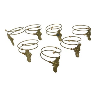 Brass Bee Napkin Rings - Set of 7