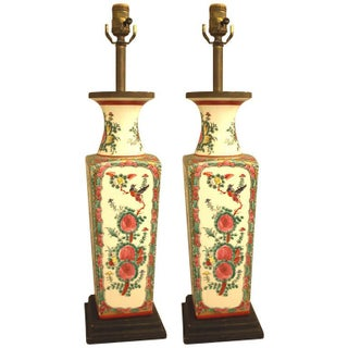 Chinese Porcelain Painted Lamps - Pair
