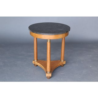 19th Century Empire Style Marble Table on Walnut Base