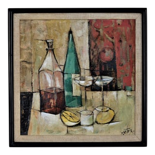 1950s Mid-Century Modern Cubist Oil Painting by Kero S. Antoyan Abstract Expressionism Millennial Pink