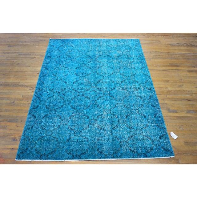 "Vintage Over-Dyed Blue Turkish Rug - 6'4"" X 9'2"" - Image 2 of 8"