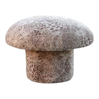 1970s Modern Plush Mushroom Stool with Animal Print
