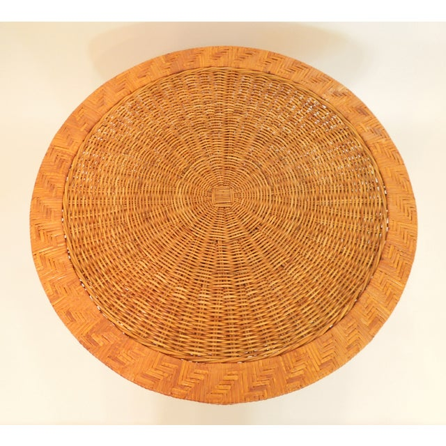 1970s French Woven Reed Rattan Coffee Table - Image 3 of 9