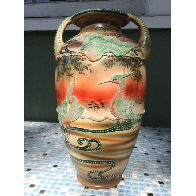 Image of Antique Japanese Moriage Tall Vase / Urn