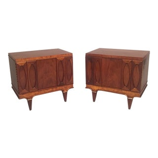Martinsville Mid-Century Modern Walnut Nightstands - a Pair