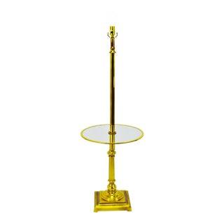 Vintage Mid Century Glass Table Top Brass Floor Lamp