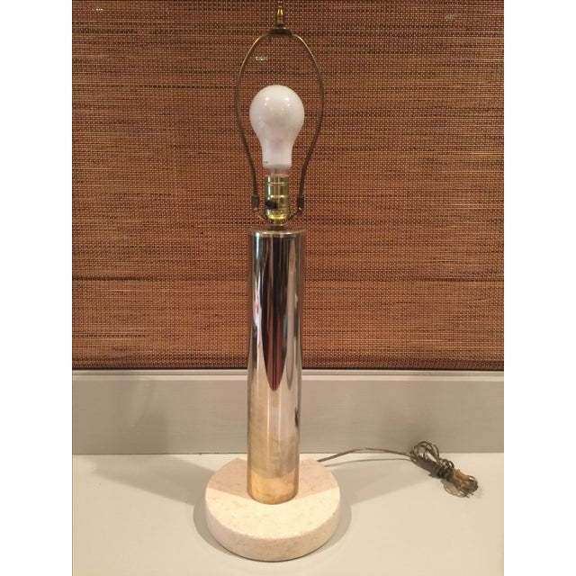 Image of Vintage Modern Brass & Marble Table Lamp
