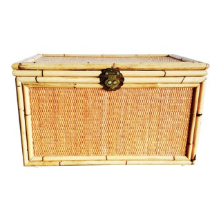 Vintage Bamboo Trunk Blanket/Toy Chest