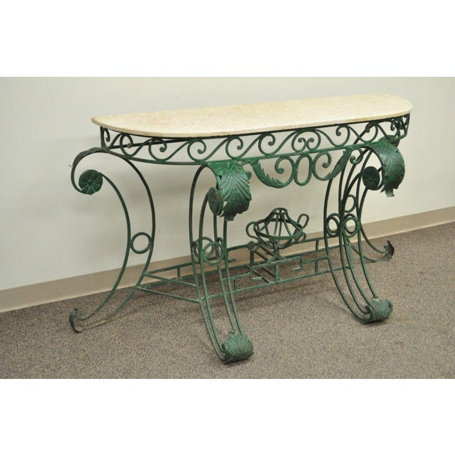Italian Regency Style Green Wrought Iron Marble Top Console Table - Image 3 of 11