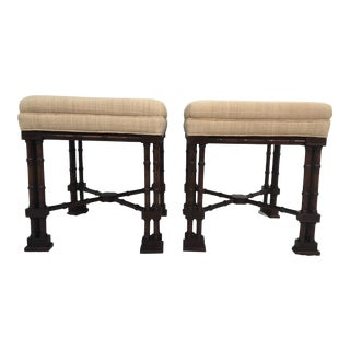 Henredon Chinese Chippendale Stools - A Pair