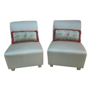 Art Deco Silk Slipper Chairs - A Pair