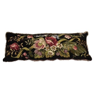 Vintage Floral Needlepoint Lumber Pillow