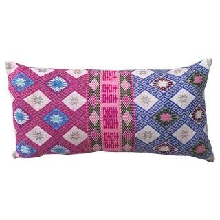 Vibrant Woven Hmong Textile Pillow
