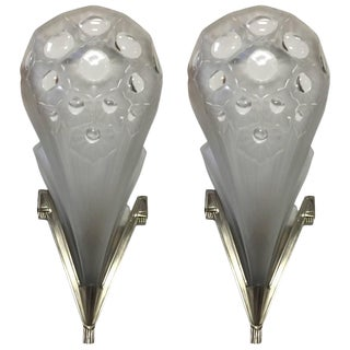 Muller Freres Signed French Art Deco Wall Sconces - A Pair