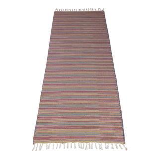Turkish Flat Weave Wool Striped Pink Kilim Rug - 2'8'' X 7'6''