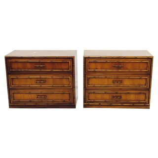 Vintage Mid-Century Bamboo Bedside Chests - A Pair