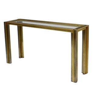 "Romeo Rega ""Modernist Glam"" Brass, Chrome and Steel Console with Inset Glass"