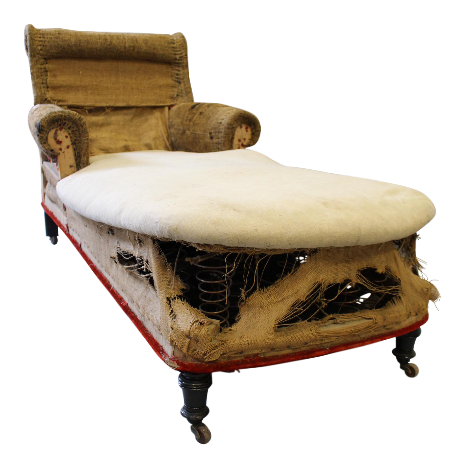 napoleon iii scrolled back original casters chaise lounge chairish