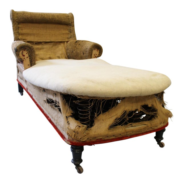 napoleon iii scrolled back original casters chaise lounge chairish. Black Bedroom Furniture Sets. Home Design Ideas