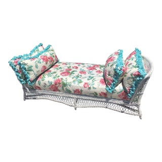 Vintage Floral Wicker Daybed
