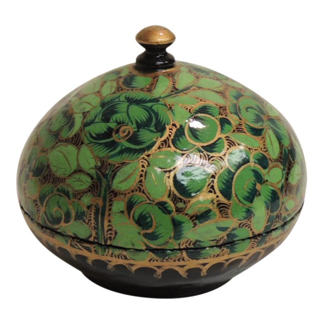 Small Vintage Hand Painted Indian Lacquered Box - Image 1 of 4