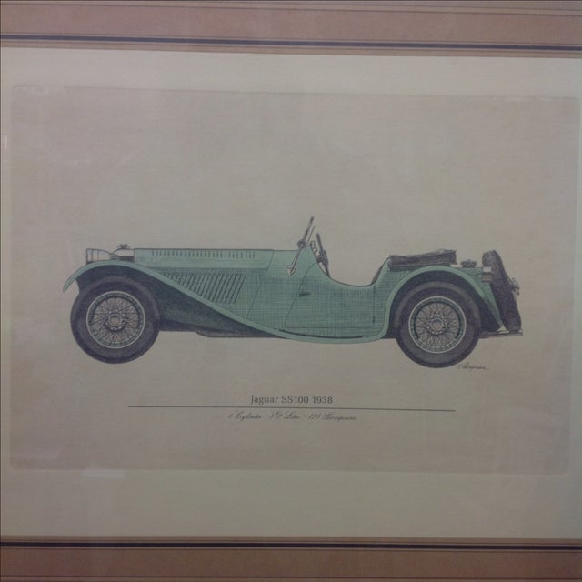 Image of Vintage 1938 Jaguar SS100 Hand Colored Engraving