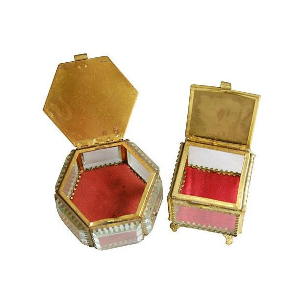 Image of Antique French Souvenir Boxes - A Pair