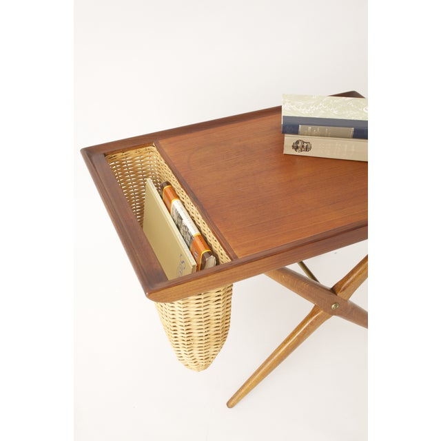 Teak Walnut MCM Side Table Woven Magazine Basket - Image 9 of 11