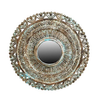 Round Hand Carved Mirror