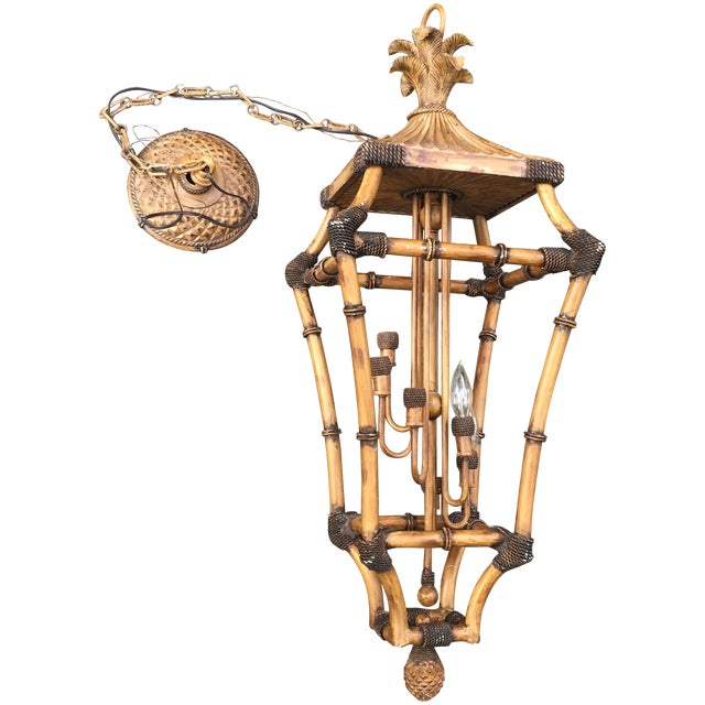 Image of Faux Bamboo Pagoda Palm 6 Light Lantern Chandelier