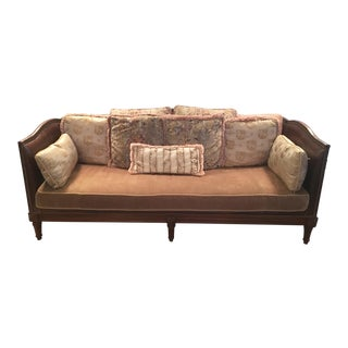 Lillian August Leather and Velvet Couch