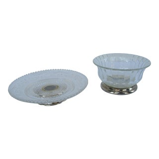 Vintage Silver-Plate and Glass Bon Bon Dishes - A Pair