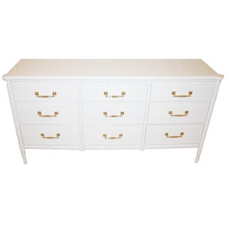 Hollywood Regency Faux-Bamboo White Dresser