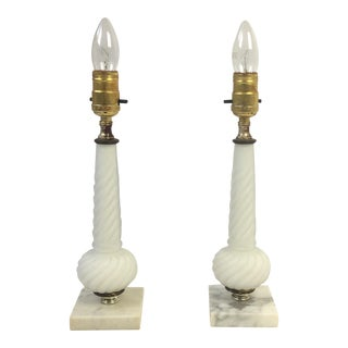 Hollywood Regency White Glass Column Lamps - a Pair
