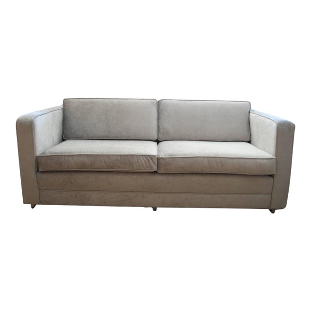 Knoll Love Seat in Distressed Silver Velvet - Image 1 of 5