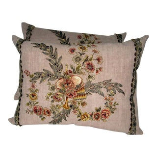 19th C. French Appliqued Linen Pillows - A Pair