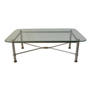 Vintage Stainless Steel Glass Top Coffee Table