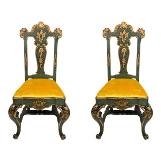 19th C. Venetian Carved & Gilded Chairs - a Pair