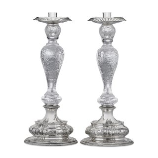 American Cut Glass And Silver Candlesticks By Dominick & Haff