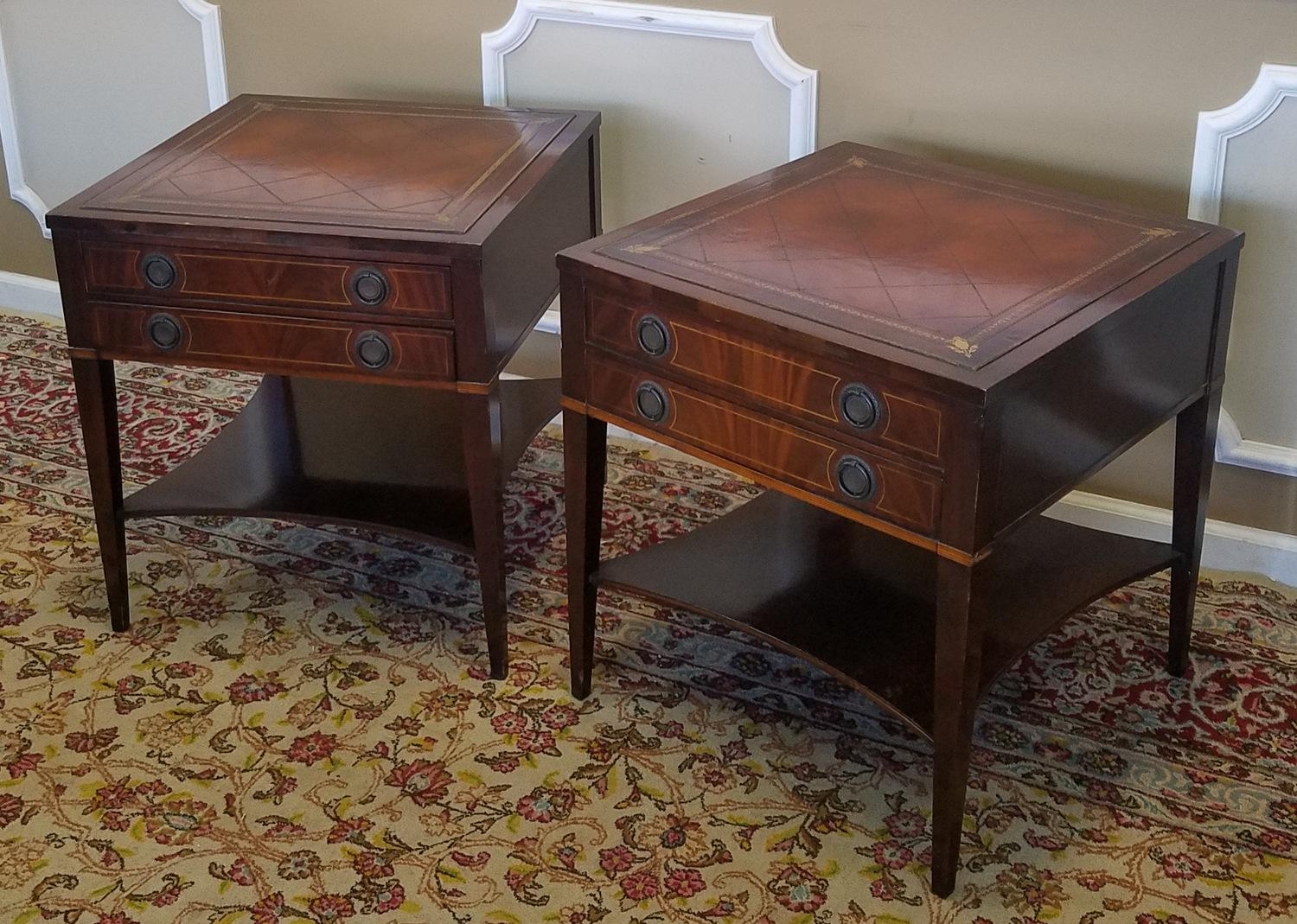 pair 1950s banded u0026 inlaid leather top 2 drawer living room side tables image 4