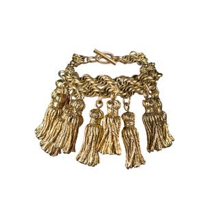 Gold Tassel Bracelet by Chantal Thomass