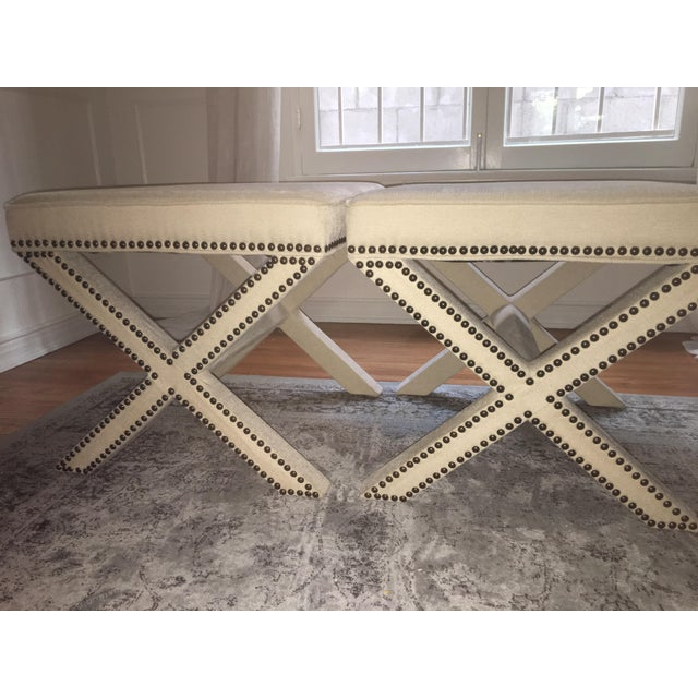 Linen Nailhead X-Bench Ottoman - a Pair - Image 2 of 8