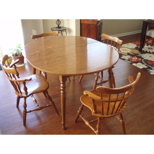 Ethan Allen Solid Wood Dining Table Set - Image 2 of 5