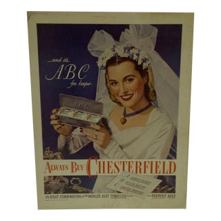 Vintage Chesterfield Cigarettes Advertising Magazine Page