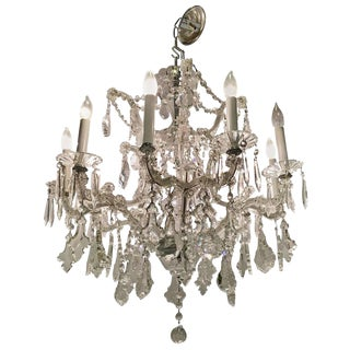 French Cut Crystal & Glass Ten Light Chandelier